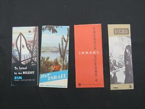 Lot of 4 Vintage Israel Travel Brochures Zim, Beersheba, 1950's