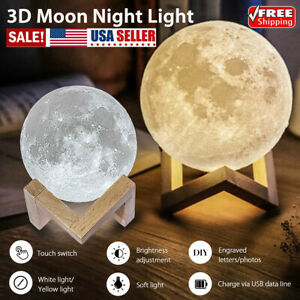 3D Printing Moon Lamp USB LED Night Lunar Light Touch Remote Color Changing US y