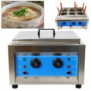 Commercial 6 Holes Noodle Cooking Machine Electric Pasta Cooker w/ Filter Basket