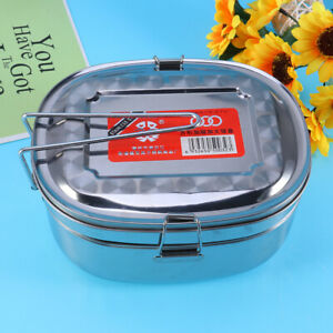 1PC Lunch Box Stainless Steel Double Layers Thermal Food Storage Box for Workers