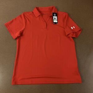 Under Armour Women's Size Large LOOSE Red Short Sleeve Golf Polo Shirt NWT $31.84