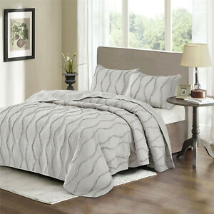 HIG 3pc Ultra Soft Quilt Sets, 100% Brushed Microfiber All Season Quilt
