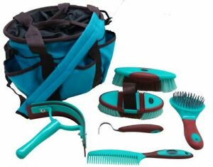6 Piece Soft Grip Horse Grooming Kit w Nylon Carrying Bag $29.95