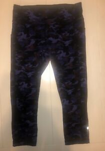 Lululemon 8 Wunder Under Crop Empereor Blue Purple Camo Pants Cropped Legging