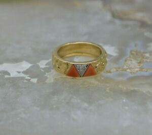 18K YG Van Cleef and Arpels Coral and Diamond Pave Ring Size 6.5 $1250.00