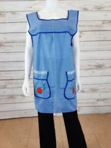 Mexican Apron Dress Womens Size XL Blue & Pink Plaid  w/Floral Embroideries