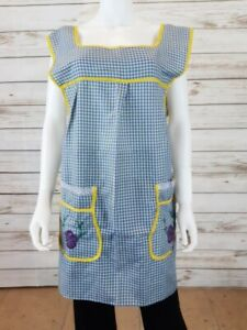 Mexican Apron Dress Womens Size XL Blue & Yellow Plaid  w/Floral Embroideries
