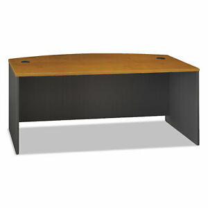 Series C Collection 72W Bow Front Desk Shell, 71.13w x 36.13d x 29.88h, Natural