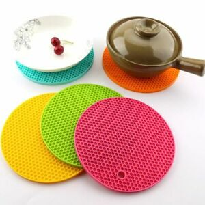 Silicone Coaster Hot Pan Pot Heat Resistant Cup Mat Round Holder Kitchen Table