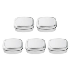 5 Pack Rectangular Tin Box with Lid Empty Aluminium Can Storage Container for