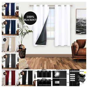 2 Panels 100% Thermal Insulated Blackout Grommet Curtains for Bedroom