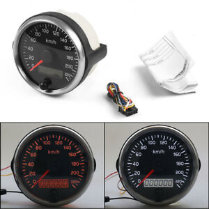 For 12V 24V 85mm Racing Speedometer 0 220km h Speed Gauge Meter With Digital LCD $26.80