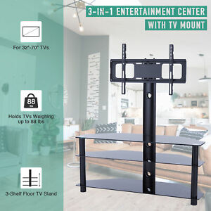 3-Tier Aluminum Floor TV Stand with 45° Rotation for 32