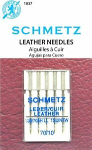5 PACK SCHMETZ LEATHER SEWING MACHINE NEEDLES SIZE 10 70 Part# S 1837 $5.99