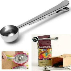 Stainless Steel Coffee Scoop With Clip Coffee Tea Measuring Cup Ground Coffee Sc