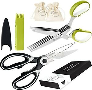 Heavy Duty Stainless Steel Kitchen Scissors Herb Food Crafting Shears Combo Set