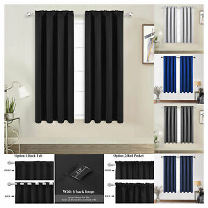 2 Panels Thermal Insulated Rod-pocket Blackout Curtains Darkening Living Room