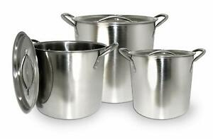 6pc Stainless Steel Stockpot Pot Set 8 -12 - 16 QT Quart Beer Brewing Soup Chili