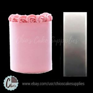 Stainless steel tall cake scraper smoother. Plain edge cake side smoother
