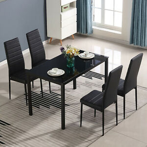 5 Piece Dining Table Sets Glass Metal 4 PU Leather Chairs Kitchen Room Furniture $179.99