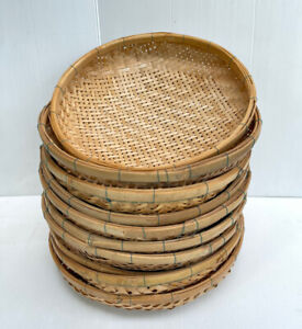 Vintage Thai Handicraft Wicker Round Shape Treshing Bamboo for Drying Food 12quot;