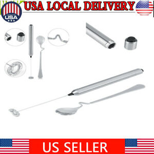 Kitchen Stainless Steel Handheld Battery Operated Electric  Frother With Spoon