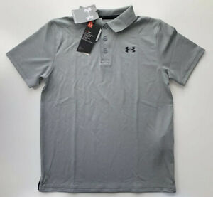 Under Armour Boys Performance Polo Shirt 1291674 036 Gray Youth L $24.95