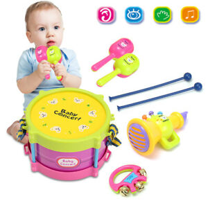5Pcs Set Baby Toy Roll Jazz Drum Toddler Musical Instrument Kit Kid A