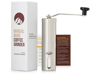JavaPresse Manual Coffee Grinder / Conical Burr Mill, Brushed Stainless Steel