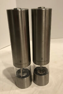 """WolfGang Puck Electric Salt and Pepper Mill Set electric grinder 8.5""""x2"""""""