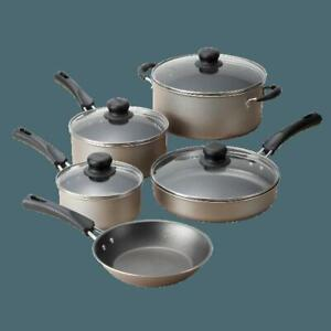 Cookware Set 9 Piece Pots And Pans Kitchen Non Stick Cooking Stainless Champagne