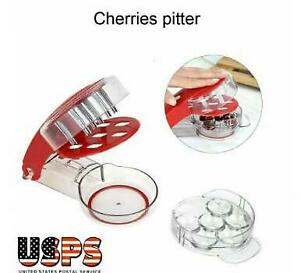 6 Holes Kitchen Tool Cherry Pitter Stone Remover Machine Cherry Corer Container