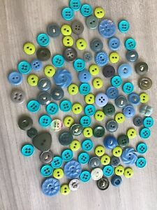 Lot 100 Mixed Assorted Blue amp; Green Vintage amp; New Buttons Crafts Bulk Sewing $7.49