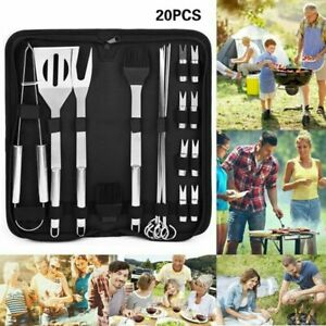 20Pcs BBQ Grill Tool Set Kit Stainless Steel Outdoor Barbecue Utensils With Bag