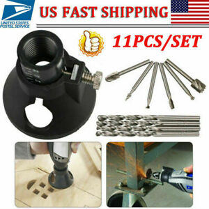 11PCS Rotary Multi Tool Cutting Guide Attachment HSS Router Drill Bit For Dremel