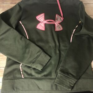 Under Armour Womens Semi Fitted Hoodie Olive Green Pink Realtree Camo Size L EUC $19.98