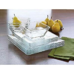 12 Piece Square Clear Glass Dinnerware Dining Set Dinner Meal Glassware NEW