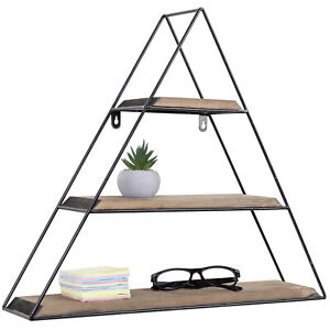 MyGift 3 Tier Triangle Design Wall Mounted Coffee Brown Wood and Metal Shelves
