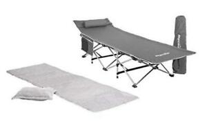Alpcour Folding Camping Cot with Mattress Pad & Pillow for Indoor & Outdoor Use