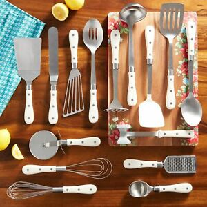 The Pioneer Woman 15-Piece Frontier Collection Linen Kitchen Cooking Utensil Set