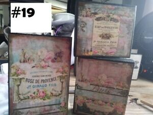3PC Wooden free standing signs french shabby chic paris toillette  roses pink