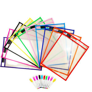"""24 Pack Dry Erase Pockets Sleeves Sheet Protector 10.25""""x14"""" W Marker Pens"""