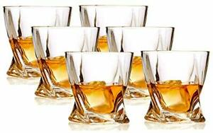 6 Pack Crystal Whiskey Glasses 10 Oz Twist Scotch For Drinking Bourbon Cognac