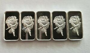 (5) 1 GRAM 0.999+ PURE SILVER BARS-ROSE $10.99