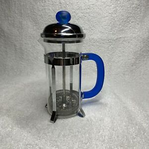 12 Oz. Glass And Stainless Steel Coffee/Tea Infuser Press W/ Blue Plastic Handle