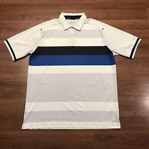 Nike Golf Men's Dri Fit Polo Shirt Striped Blue Casual Size Large Colorblock $28.00