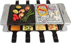 Dual Cheese Raclette Table Grill w Non-stick Grilling Plate and Cooking Stone