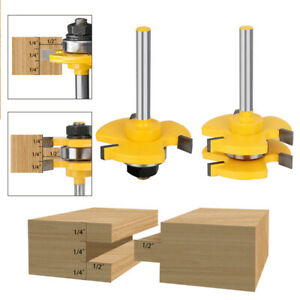 Tongue and Groove Router Bit 3 Teeth T Shape 1/4