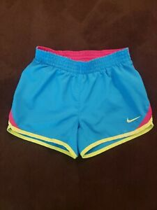 NIKE Dri Fit Girls Size 6 TEMPO Running Athletic Shorts Blue Lined $8.99