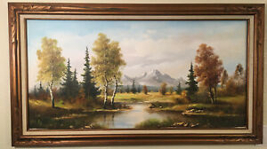 """Antique Vintage Large Oil Painting Signed AUG. Tracy 48""""x24"""" Donovan's Auction $399.00"""